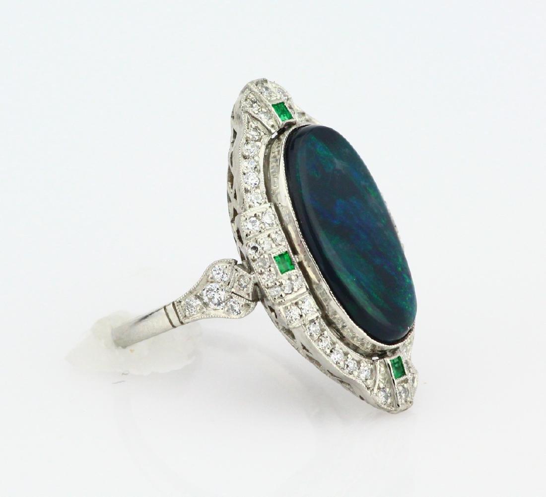 Black Opal Slate, 1ctw Diamond & Platinum Ring - 3