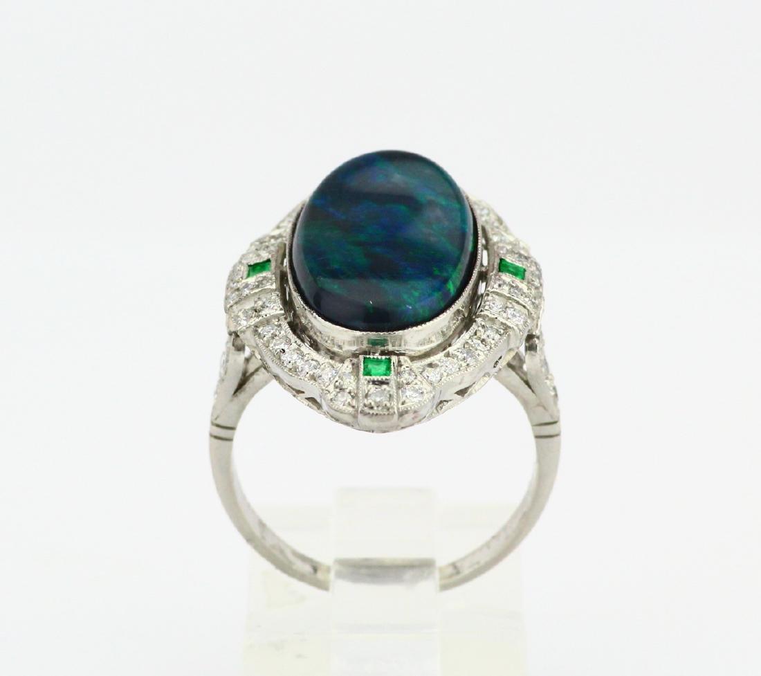 Black Opal Slate, 1ctw Diamond & Platinum Ring - 4