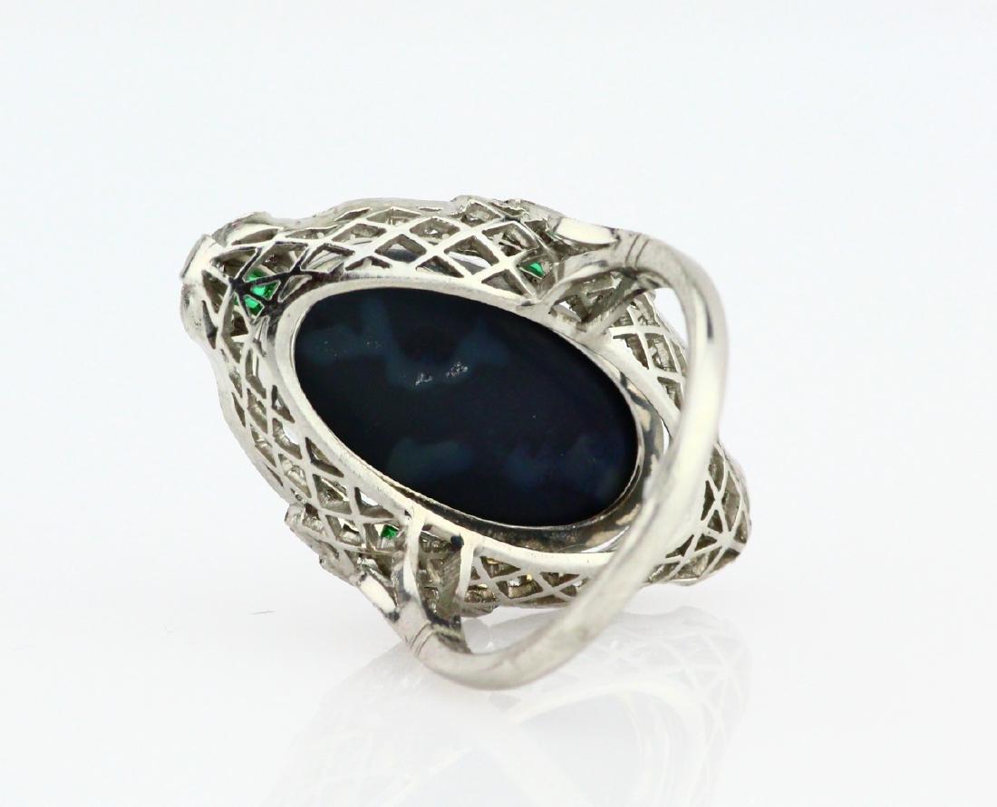 Black Opal Slate, 1ctw Diamond & Platinum Ring - 5