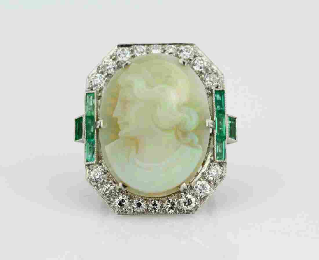Carved Opal Cameo, 2ctw Diamond & Platinum Ring