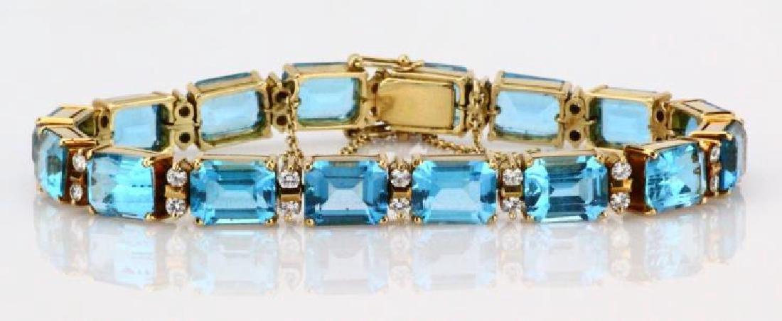 42ctw Swiss Blue Topaz, Diamond & 14K Bracelet