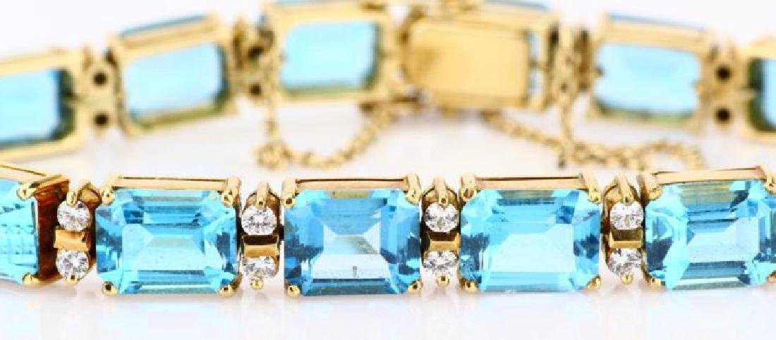 42ctw Swiss Blue Topaz, Diamond & 14K Bracelet - 2