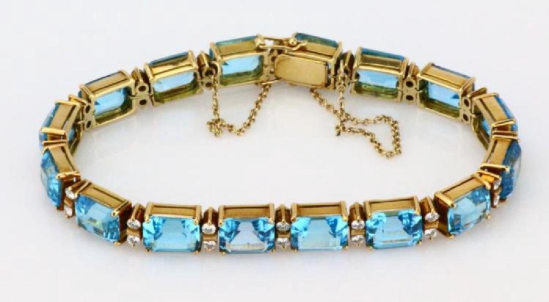 42ctw Swiss Blue Topaz, Diamond & 14K Bracelet - 3