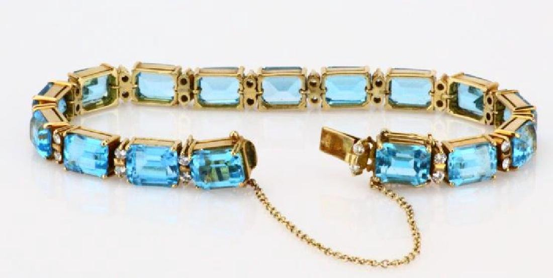 42ctw Swiss Blue Topaz, Diamond & 14K Bracelet - 4