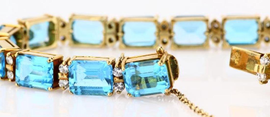 42ctw Swiss Blue Topaz, Diamond & 14K Bracelet - 5
