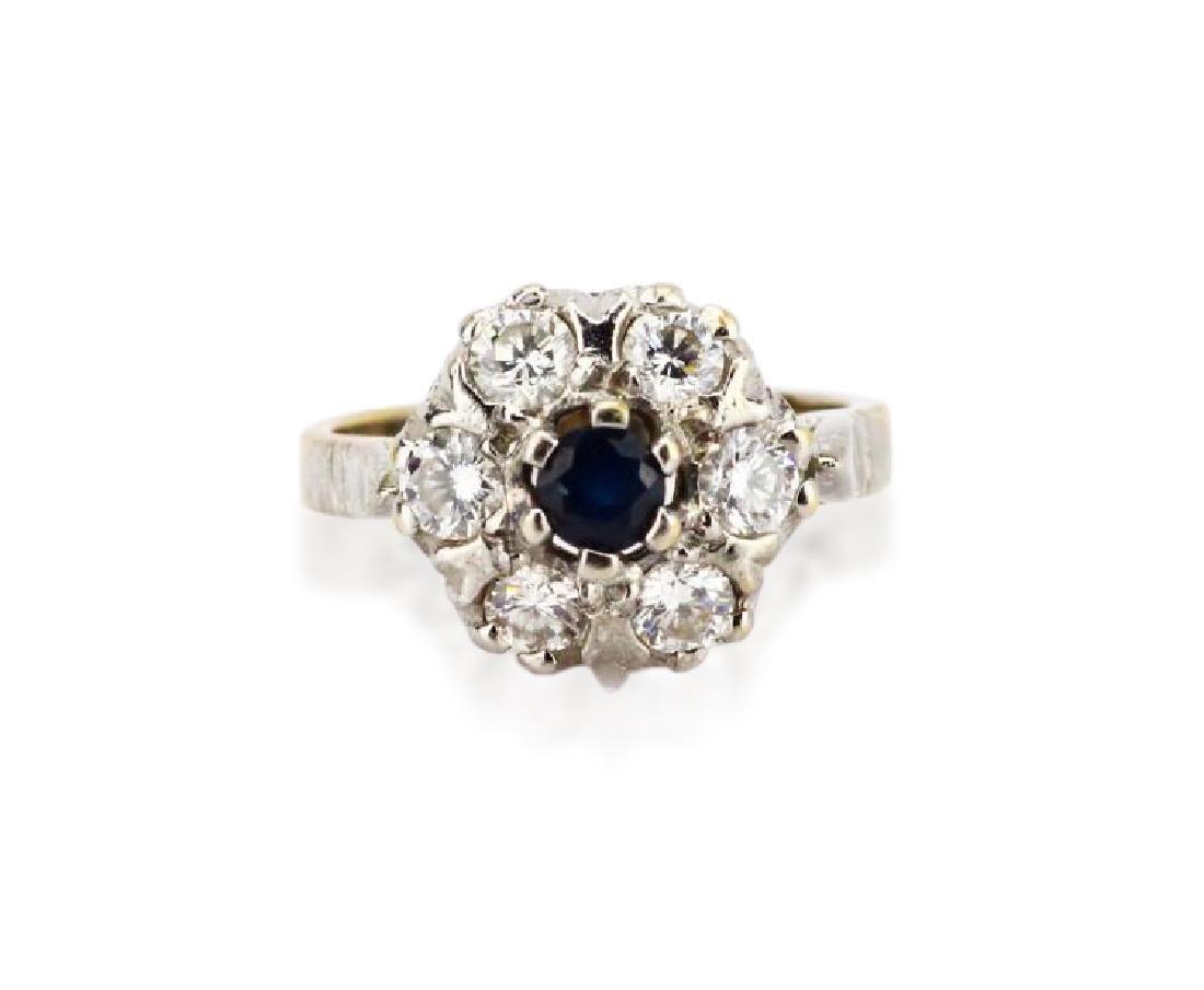 1ctw Diamond & 14K Cluster Ring W/Blue Sapphire