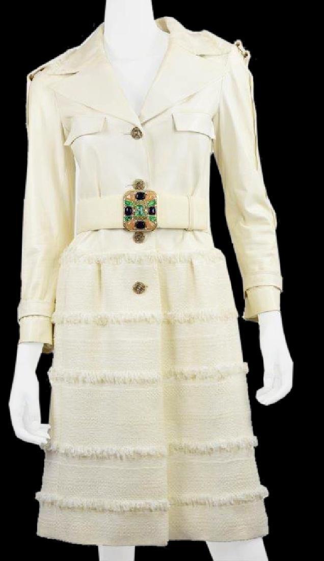 Chanel Demi Couture White Lambskin & Wool Dress