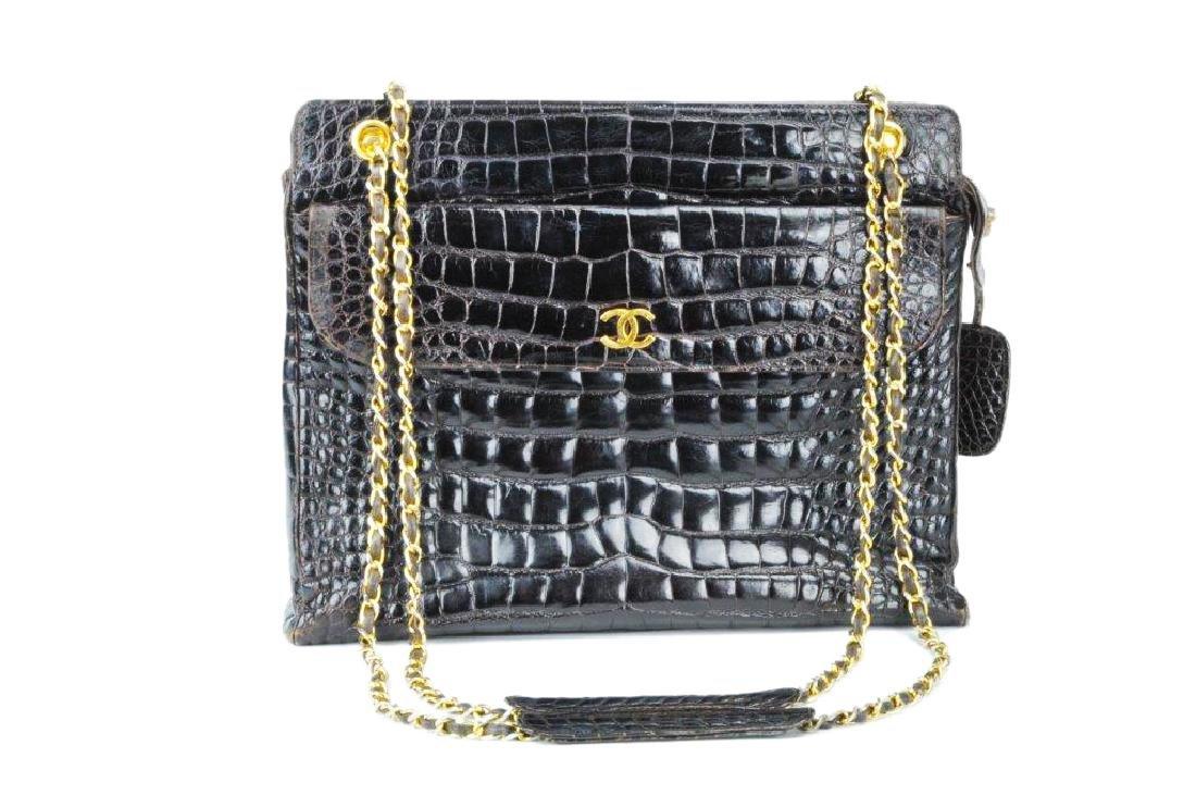 Chanel 2005 Brown Crocodile Shoulder Bag