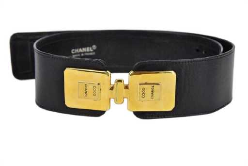 e7384c13a67b Chanel Black Leather Belt W/