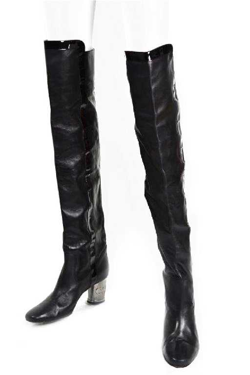89a1b4f83e0 Chanel Black Over The Knee Boots W Silver Heel