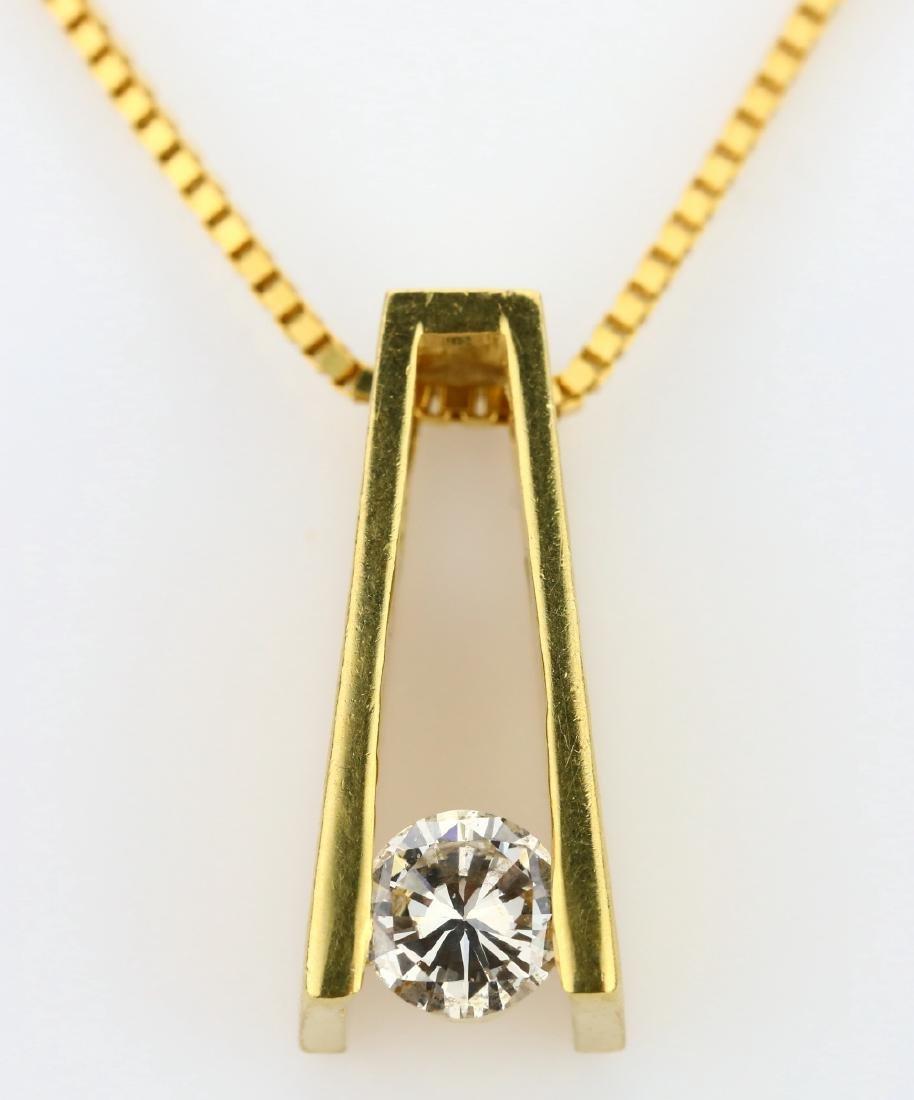14K 0.50ct Suspended Diamond Pendant on 14K Chain