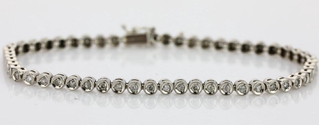 "1.20ctw Diamond & Platinum 7.5"" Tennis Bracelet"