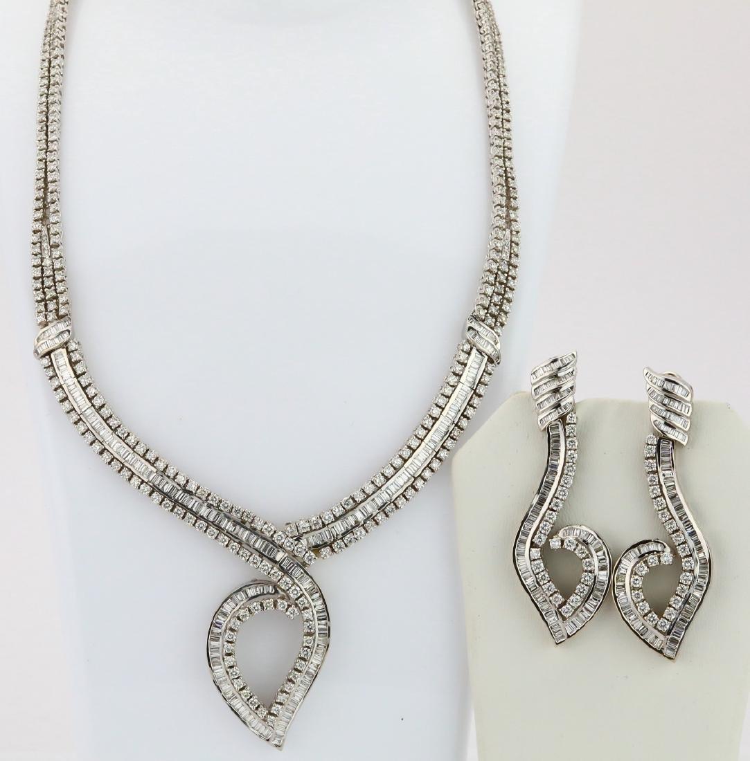40ctw Diamond 18K Cocktail Necklace & Earring Set