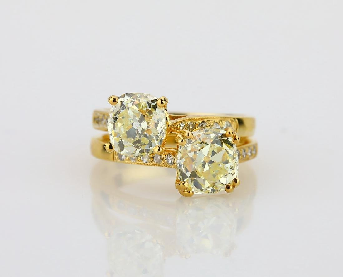 4.30ctw Yellow & White Diamond 18K Dual Band Ring