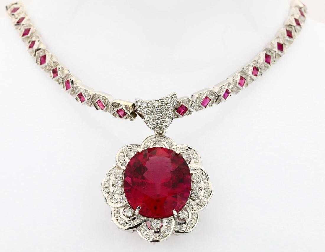 38.15ctw Rubellite, Diamond & Plat./18K Necklace