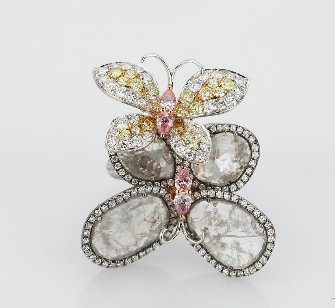 13.25ctw Pink, Yellow, & White Diamond 18K Ring