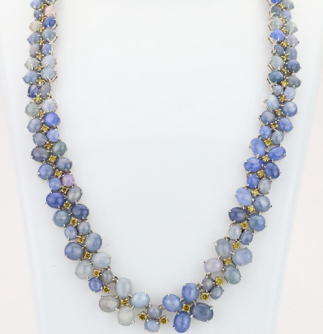 126.4ctw Star Sapphire & Yellow Diamond Necklace
