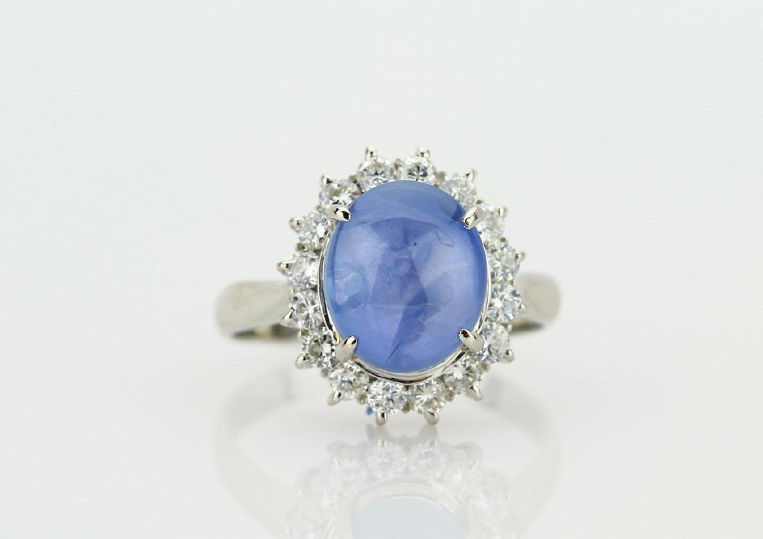 5.7ct Blue Star Sapphire, Diamond & Platinum Ring