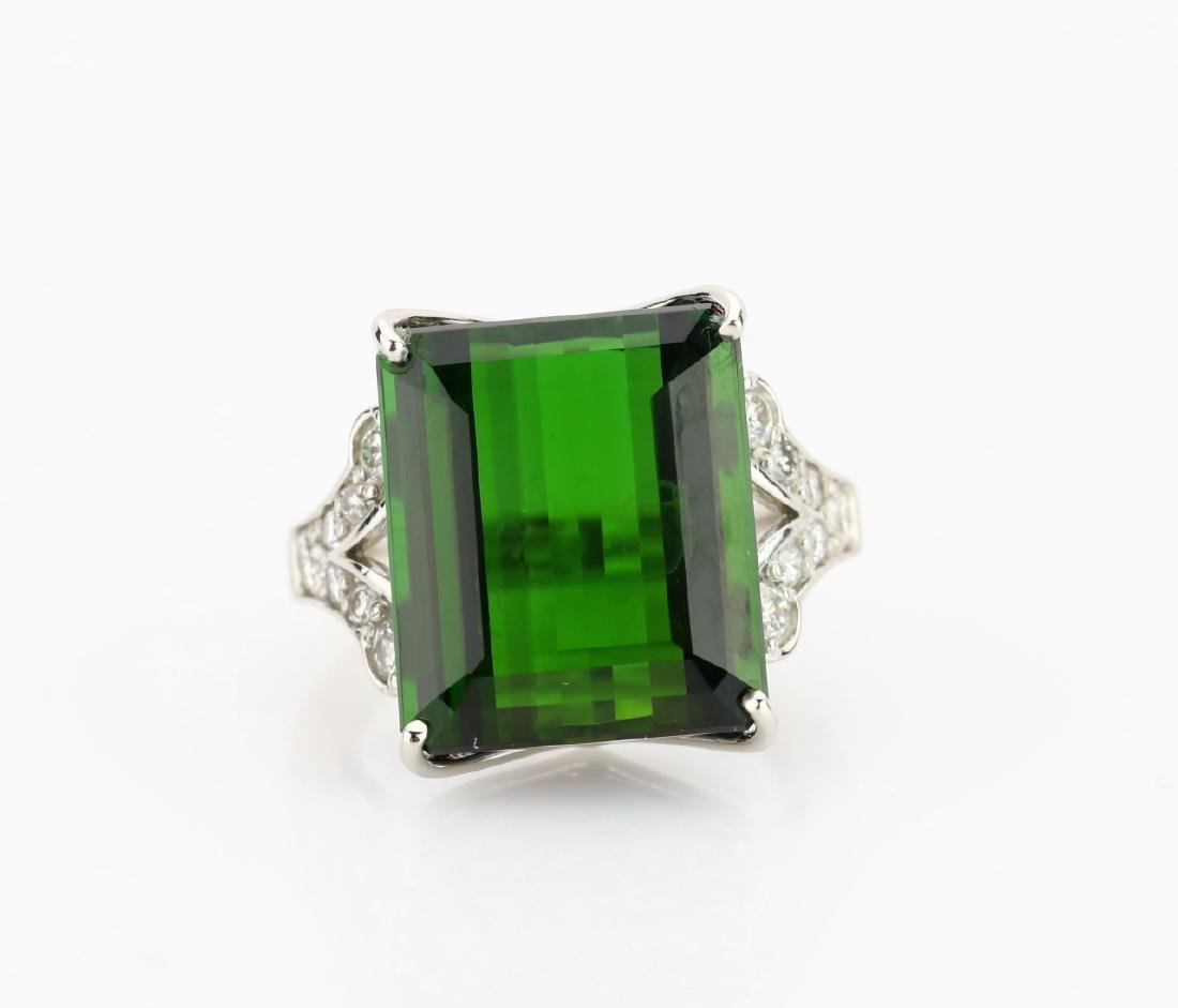 15.7ct Chrome Tourmaline Platinum Ring W/Diamonds