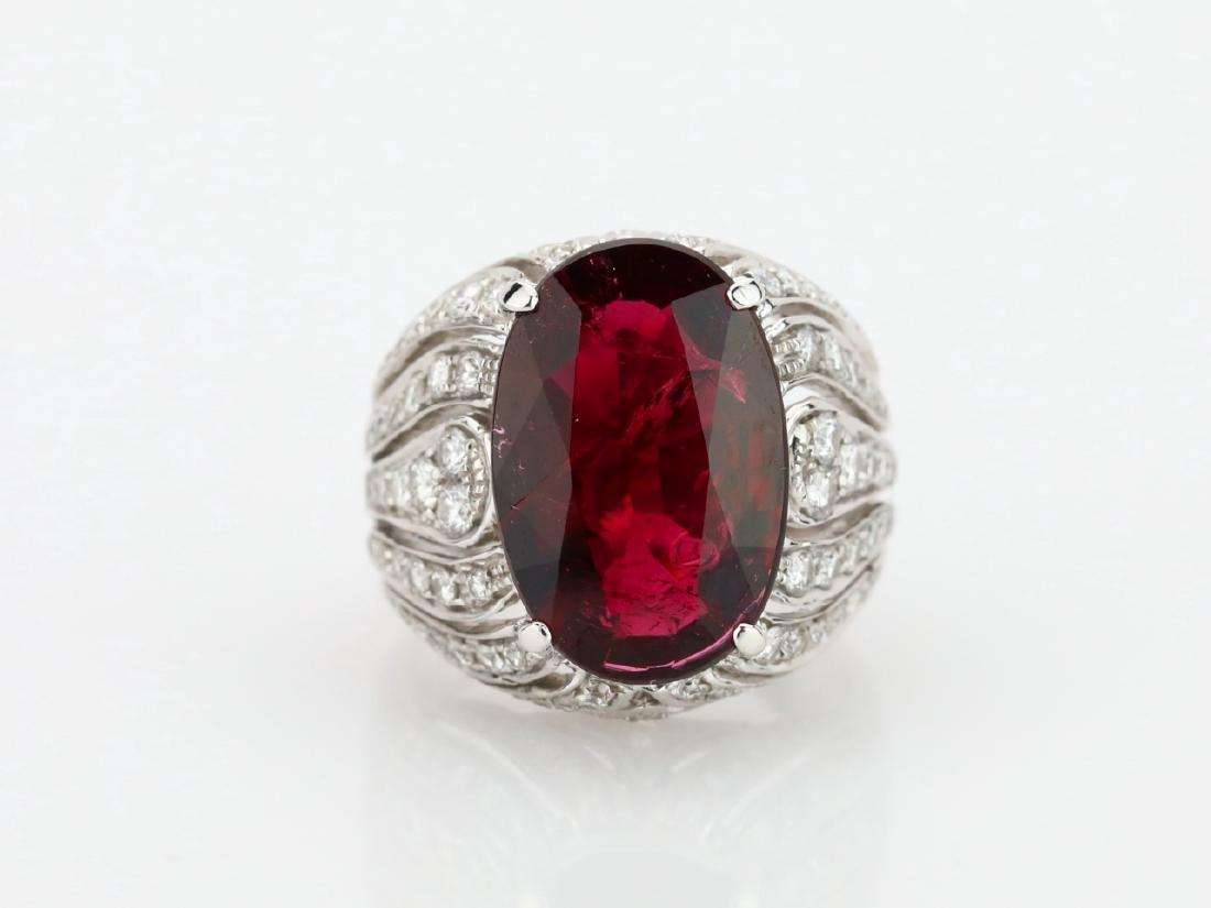 7.21ct Rubellite, 1.80ctw Diamond & 18K Ring