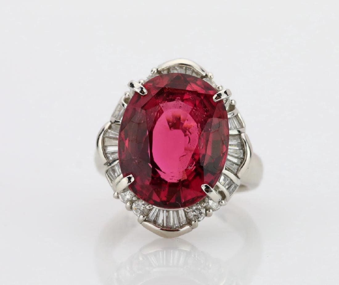 9.51ct Pink Tourmaline & Platinum Ring W/Diamonds