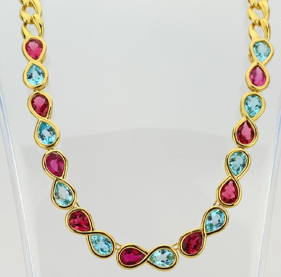 29.65ctw Blue Topaz/Pink Tourmaline 18K Necklace