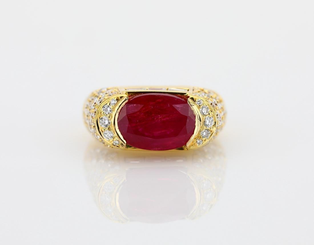 7.50ct Ruby, 4.25ctw Diamond & 18K Cocktail Ring