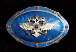 Faberge DiamondSilverEnamel Jeweled Box