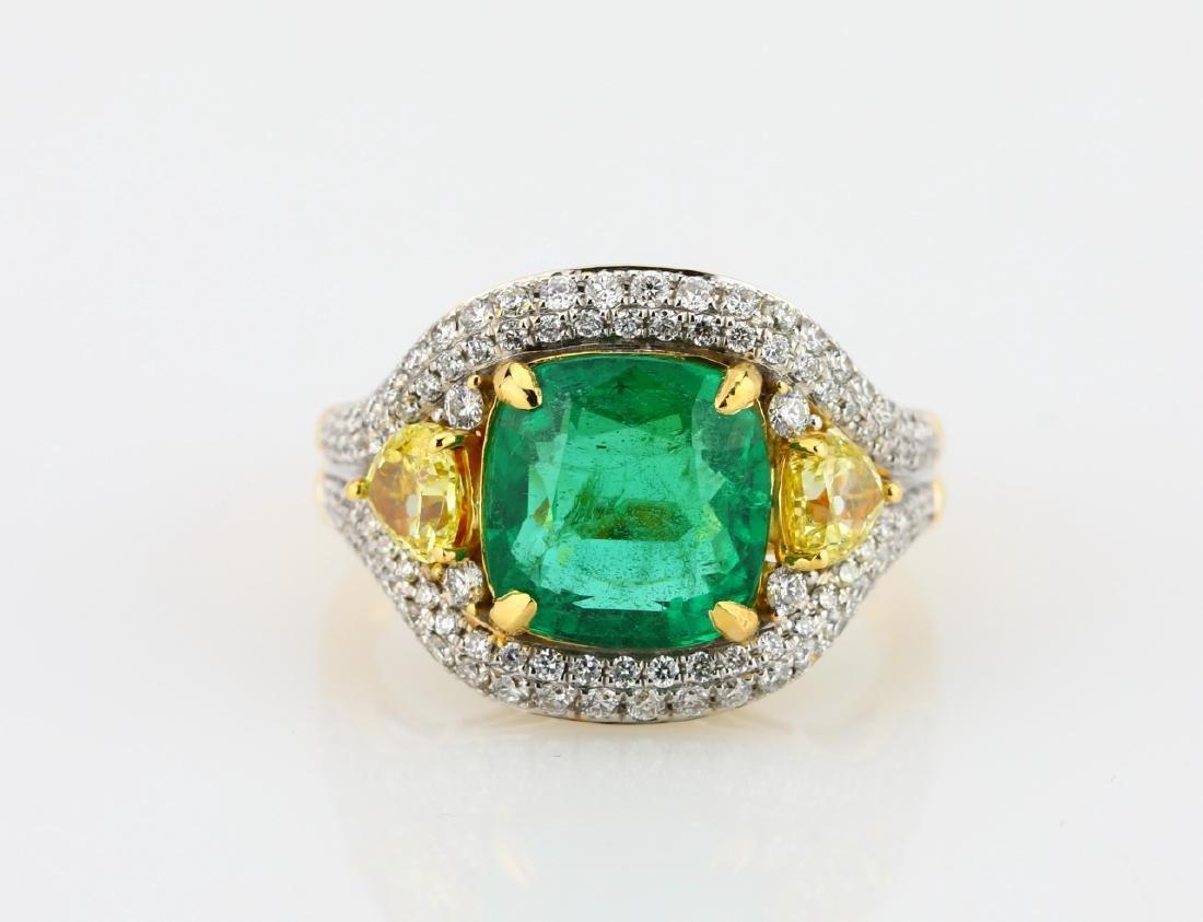 3.50ct Emerald, 1.50ctw Diamond & 18K Ring