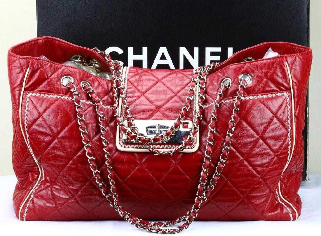 eef23eb74912 Chanel Red Quilted Aged Calfskin Weekend Bag