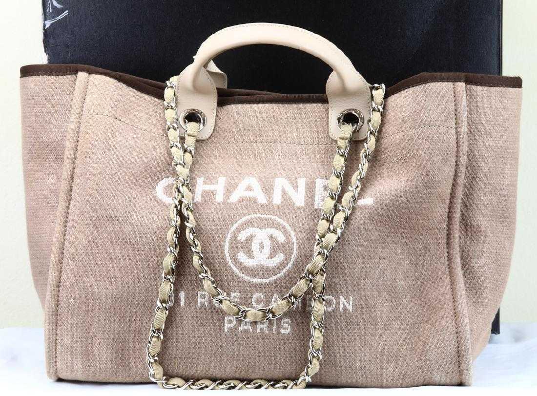 39831a7b322a Chanel Beige Canvas Deauville Medium Tote Bag