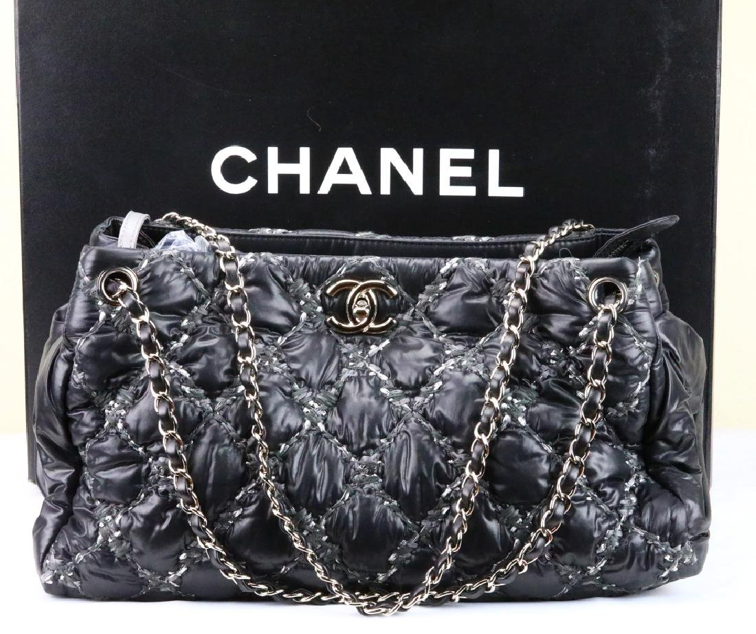 Chanel Tweed Stitched Black Quilted Nylon Bag