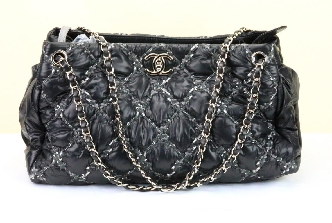 Chanel Tweed Stitched Black Quilted Nylon Bag - 2