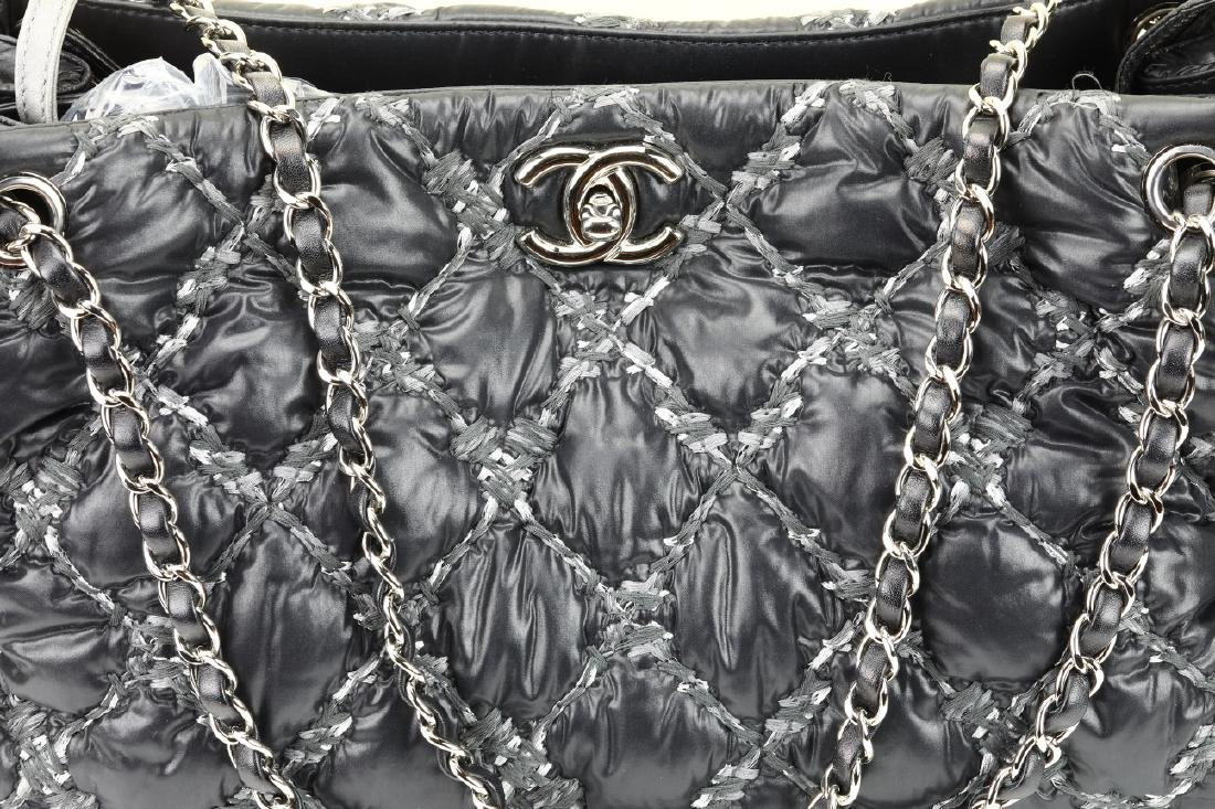 Chanel Tweed Stitched Black Quilted Nylon Bag - 3