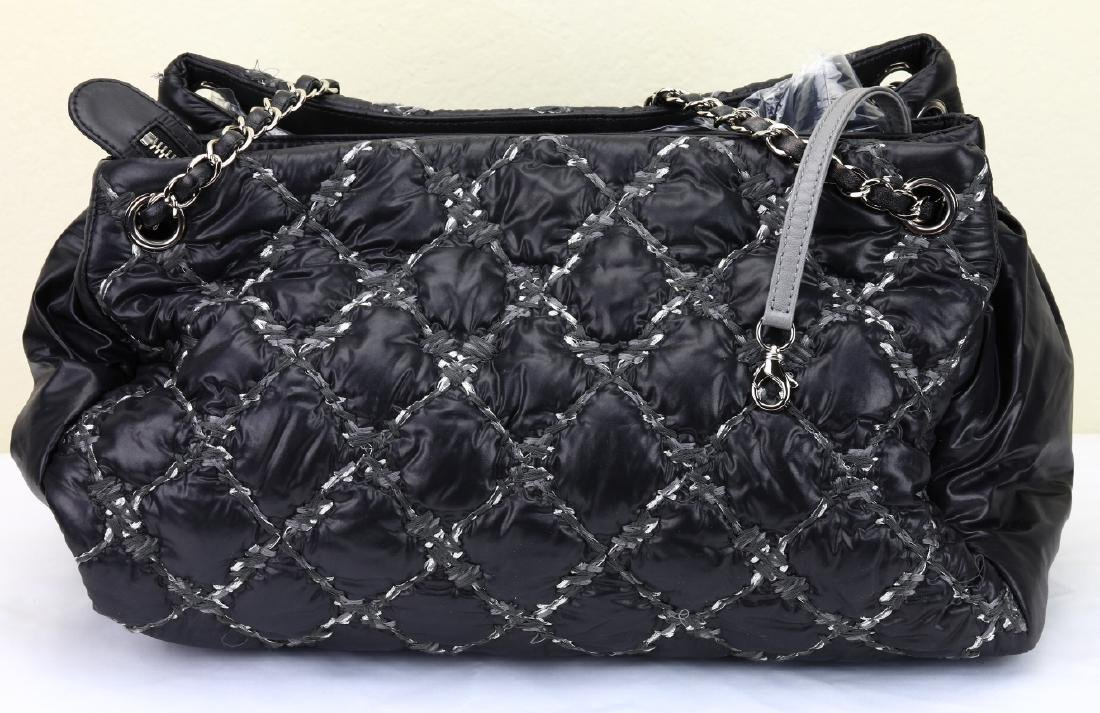 Chanel Tweed Stitched Black Quilted Nylon Bag - 4