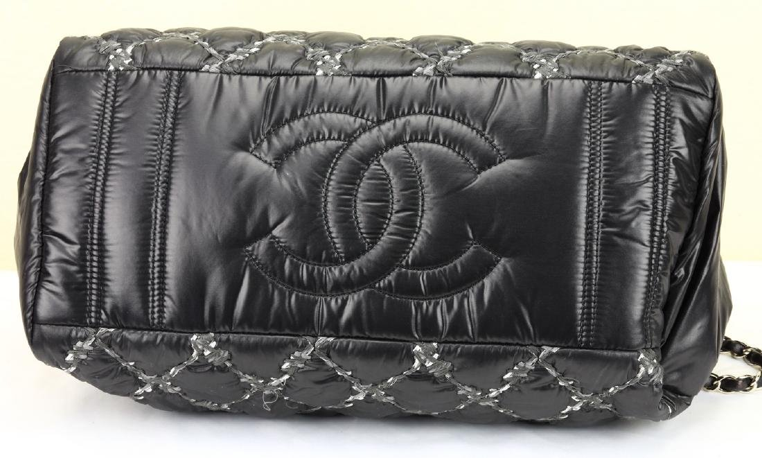 Chanel Tweed Stitched Black Quilted Nylon Bag - 5