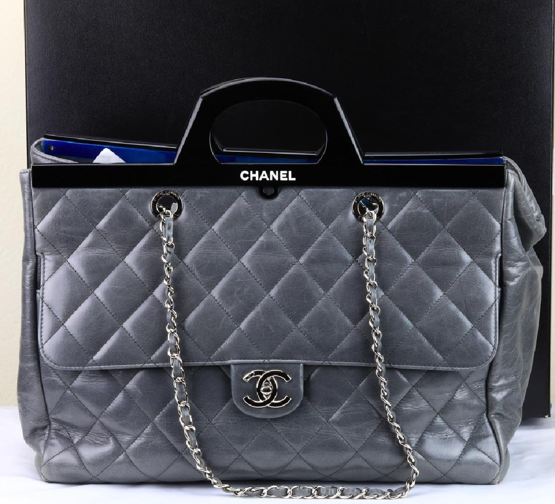 Chanel Grey Quilted Calfskin CC Delivery Tote