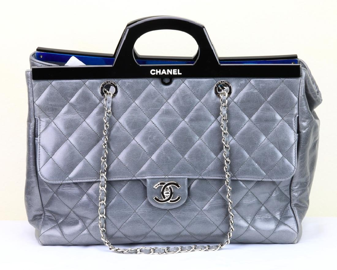 Chanel Grey Quilted Calfskin CC Delivery Tote - 2