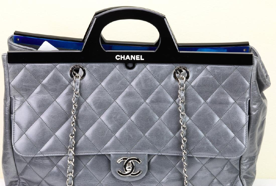Chanel Grey Quilted Calfskin CC Delivery Tote - 3