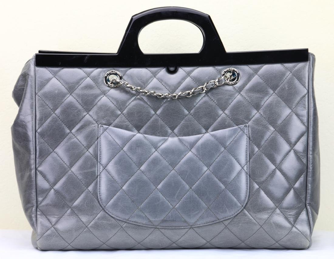 Chanel Grey Quilted Calfskin CC Delivery Tote - 6