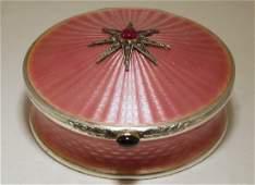 Faberge 84 Silver  Pink Enamel Box WDiamonds