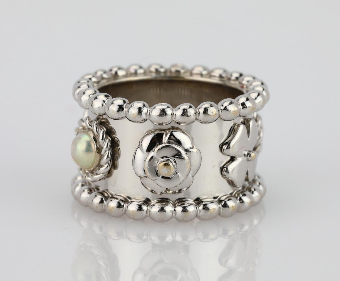 """Chanel 18K """"Camellia & Clover"""" Ring W/Pearls"""