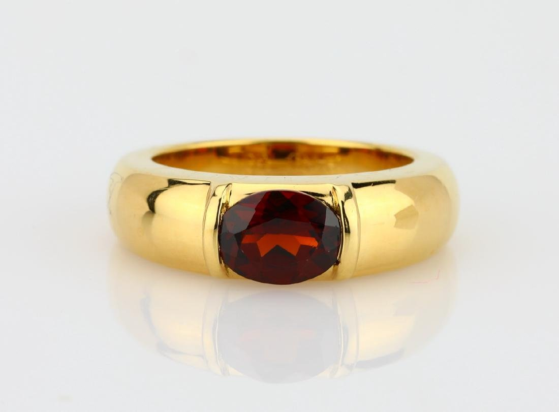 Chaumet 1ct Garnet & 18K Yellow Gold Gioia Ring