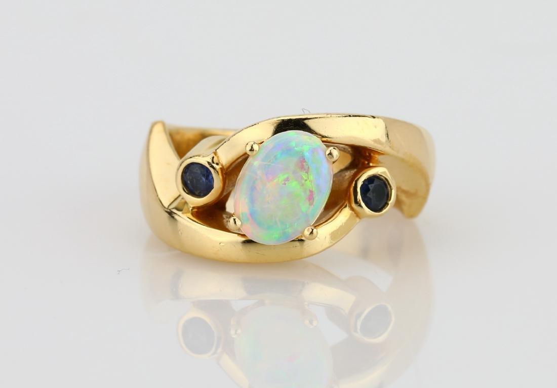 8mm AAA Fire Opal & 14K Ring W/Blue Sapphire