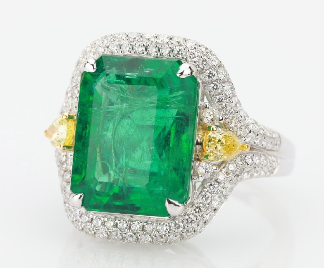 9.2ct Emerald, 1.3ctw Yellow/White Diamond 18K Ring - 5