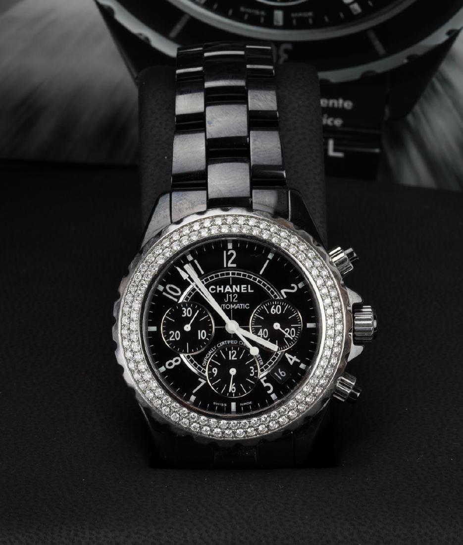 Chanel J12 Black Ceramic & VS Diamond Watch in Box