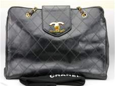 Chanel Black Leather Model Tote Overnight Bag