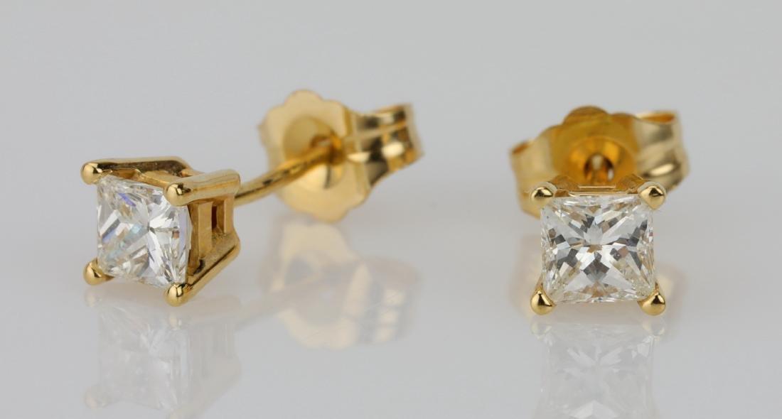EGL 0.50ctw VS2/G-H Diamond 14K Stud Earrings - 2