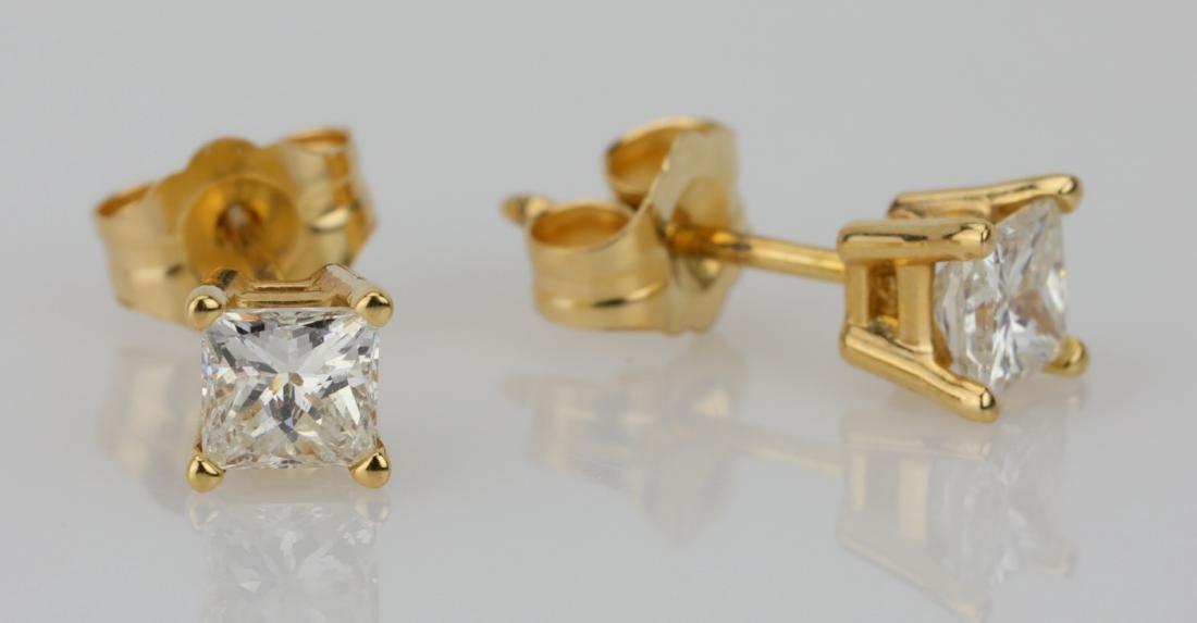 EGL 0.50ctw VS2/G-H Diamond 14K Stud Earrings - 3