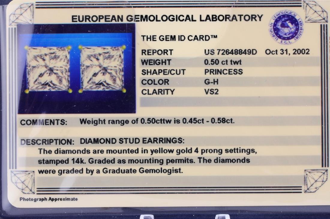 EGL 0.50ctw VS2/G-H Diamond 14K Stud Earrings - 4